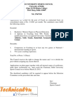 Notification of Delhi University Coach Vacancies