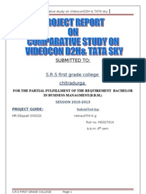 Project Report on Comparative Study on videocon d2h Amp Tata