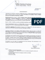 Notification ISI Project Linked Personnel Posts
