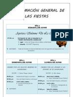 PROGRAMACIÓN GENERAL DE LAS FIESTAS