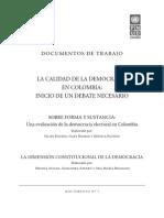 Felipe Botero, Gary Hoskin y Mónica Pachón, La calidad de la democracia en Colombia
