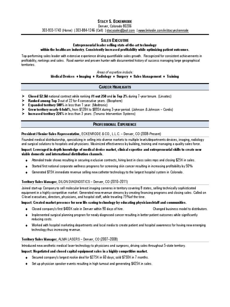 senior sales representative healthcare in denver co resume stacy