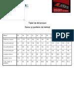 Tabel de Dimensiunitabek