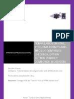 CU00720B Formularios HTML Etiqueta Form Label Checkbox Option Radio Combobox