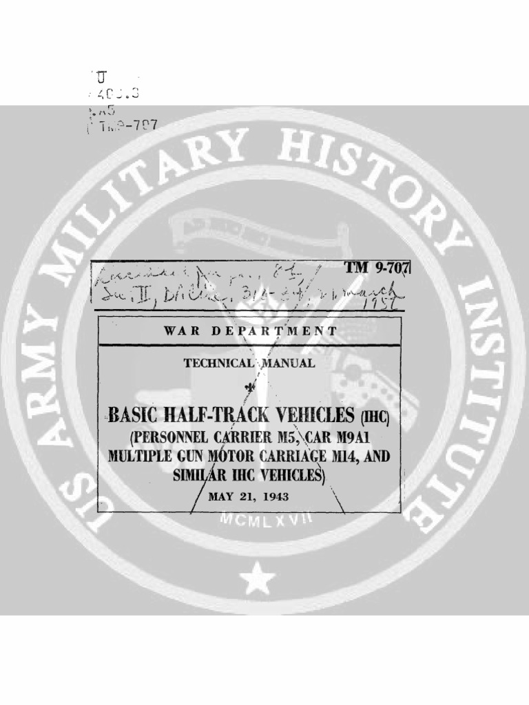 1943 US Army WWII Truck Half Track Vehicles M9A1 450p ... Harness Distributor Wiring F on