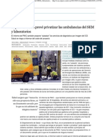2013.02.13 EL PAIS - El plan de Salud prevé privatizar las ambulancias del SEM y laboratorios