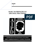 Army Basic Mathematics II Decimal Fractions