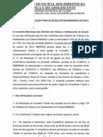 EDITAL DE CONVOCAÇÃO PARA ELEIÇÃO EXTRAORDINÁRIA 001-2013