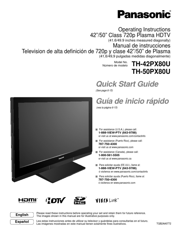 panasonic th42px80u manual hdmi digital television rh scribd com 2006 panasonic viera plasma tv manual panasonic viera plasma tv manual tc 55as680u