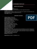 Aftermarket Parts List