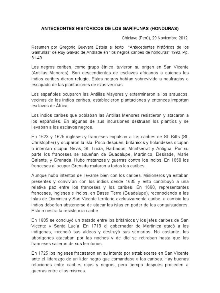 ANTECEDNTES HISTÓRICOS DE LOS GARÍFUNAS
