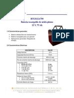 Spec Bateria Proposito General 12V 75A