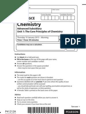Edexcel AS chemistry Unit 1 Jan 2013 | Hydrogen | Atoms