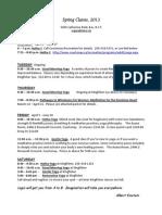 Catherine Reid's Winter, Spring 2013 Teaching Schedule