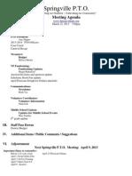 March 12 PTO Meeting Agenda