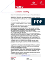 Media release - New Investment in Australian Creativity - 13 March 2013