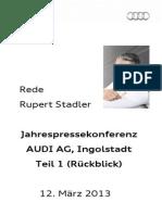 Rupert Stadler - Jahrespressekonferenz 2013, 1. Teil