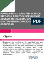 Norma Oficial Mexicana NOM-009-STPS-1999, Equipo Suspendido De