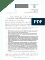 Digital Publishing Is Now Truly Global: IPA Endorses EPUB 3 as Global Publishing Standard