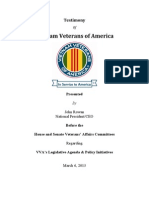 Testimony of VVA Presented by John Rowan, National President/CEO