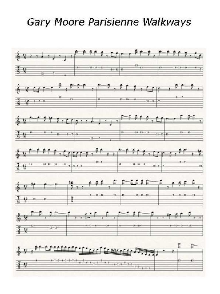 Gary Moore Parisienne Walkways Sheet Musicpdf