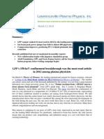 LPP Focus Fusion Report, March 11, 2013