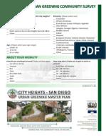 City Heights Urban Greening Community Survey