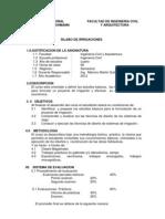 Syllabus Irrigaciones - 2012, Ing. Civil 2010