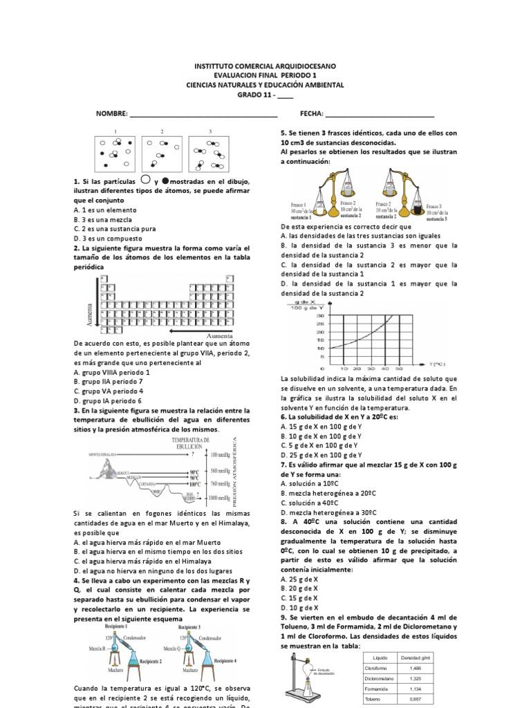 Tabla periodica elemento de mayor densidad image collections tabla periodica elemento de mayor densidad images periodic table evaluacion final 11 primer periodo quimica flavorsomefo urtaz Choice Image