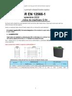 SR EN 12566-1 – Extrase privind volumul foselor septice