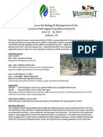 Workshop on the Biology & Management of the California Red-legged Frog (Rana draytonii)