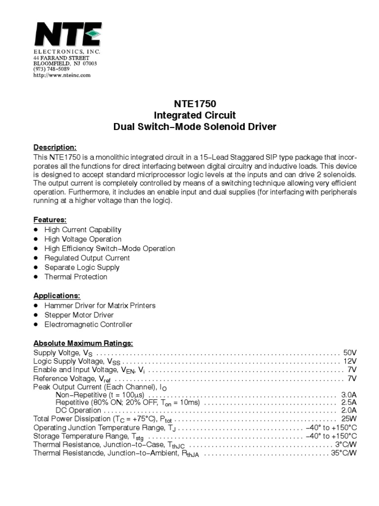 Nte 1750 Electronic Circuits Computer Engineering Completed Solenoid Driver Circuit
