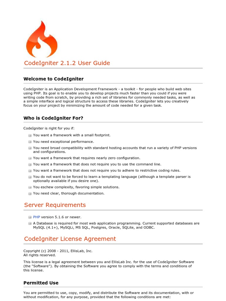 CodeIgniter 2 1 2 User Guide | Php | Html Element
