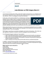 Statement from Associate Minister Oberle on PDD Calgary Burn Incident