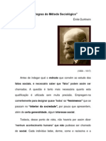 As Regras do Método Sociológico - Émile Durkheim