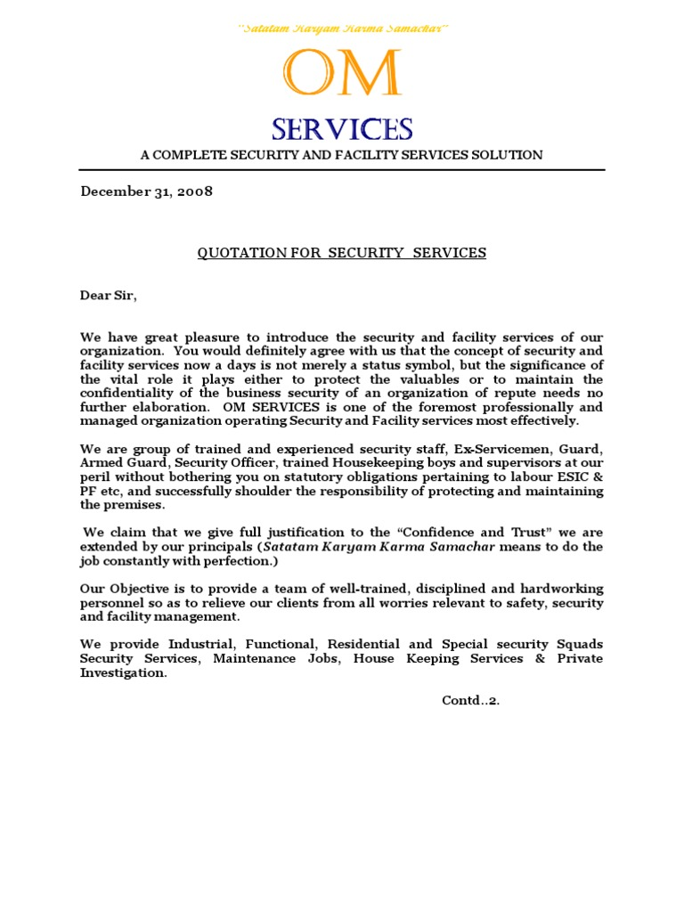 Om Services Quotation.doc | Security Guard | Labour  Business Quotation Sample