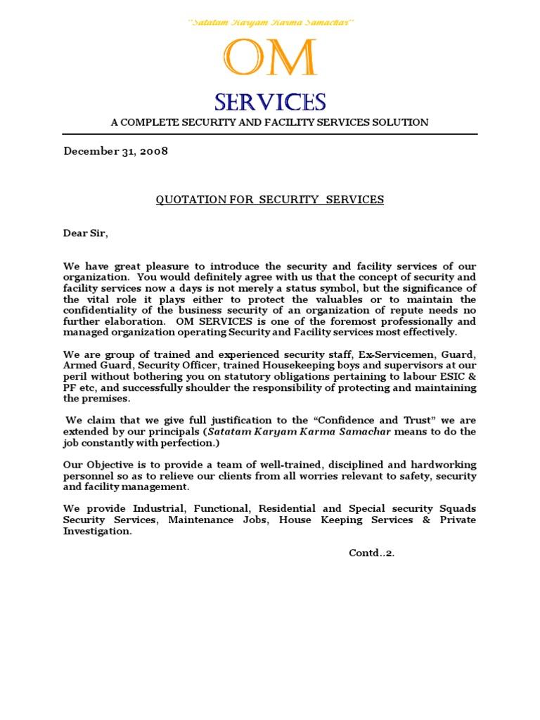 Om services quotationc security guard labour spiritdancerdesigns Gallery