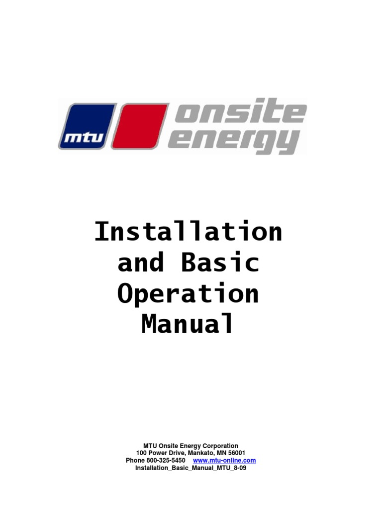 Installation and Basic Operation Manual | Battery (Electricity) | Natural  Gas