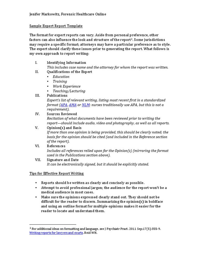 sample expert report template