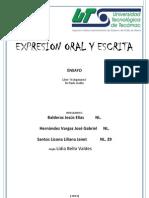 Expresion Oral y Escrita Ensayo de Eli,Gabo.y Io