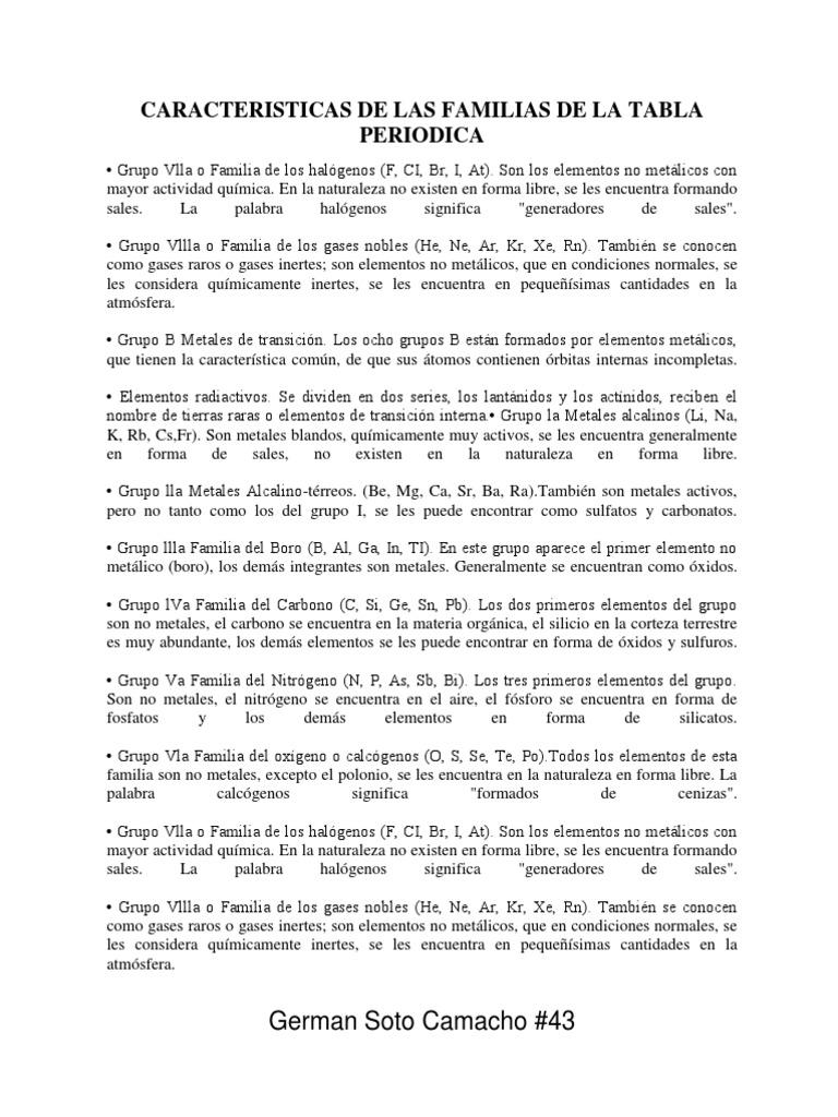 Caracteristicas de las familias de la tabla periodica urtaz Images