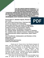 Speech by HE - World Intellectual Property Organization (WIPO) - FINAL (1)