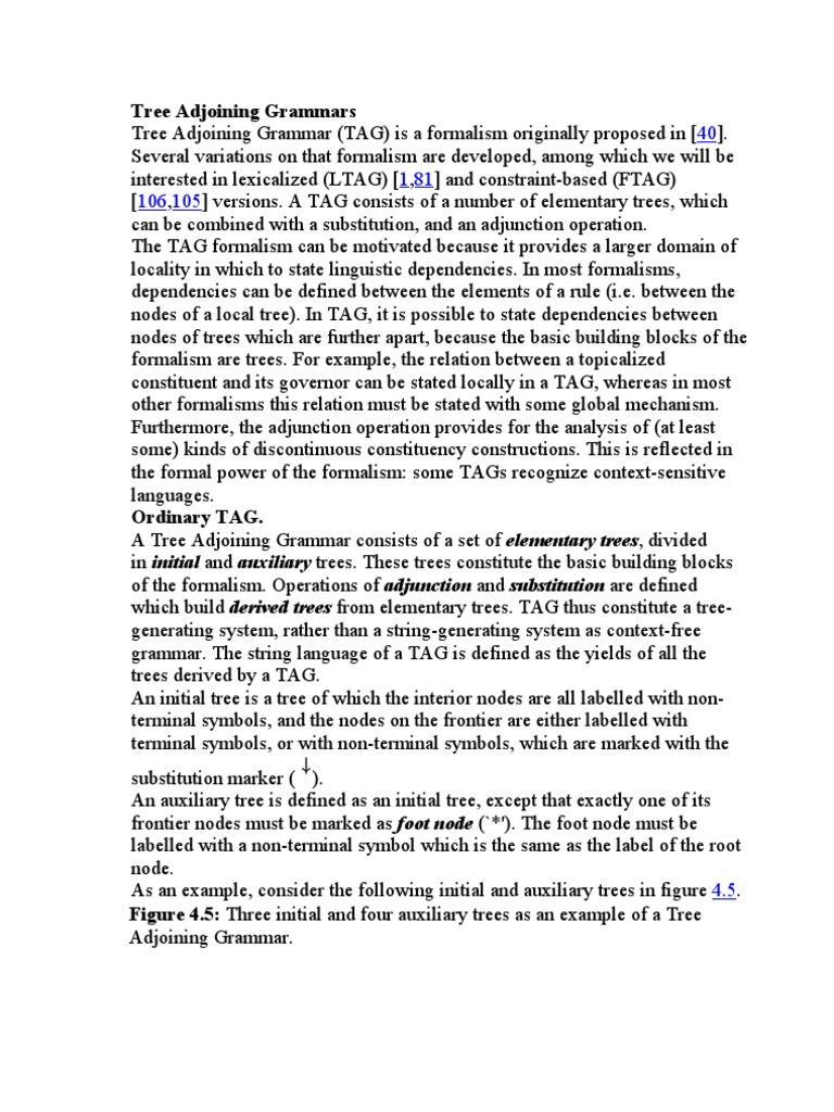 Tree adjoining grammars formalism deductive grammar biocorpaavc