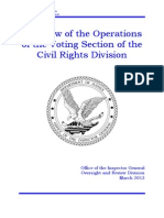 Department of Justice IG Report - A Review of the Operations of the Voting Section of the Civil Rights Division - 3/12/2013