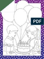 Happy Birthday kleurplaat