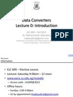 ELC609F12 Lec0 Introduction