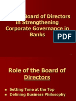 Role of Board of Directors in Strengthening Corporate Governance in Banks