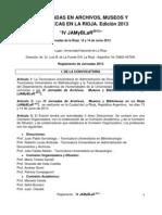 Reglamento IV Jornadas en La Rioja 2013