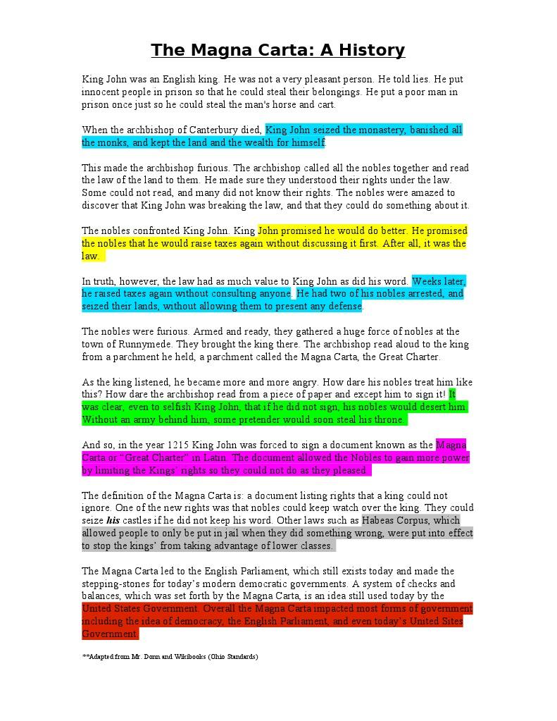 the magna carta  a reading 1   Magna Carta   Government