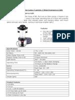 BPL SL 1300 Solar Lantern Specs